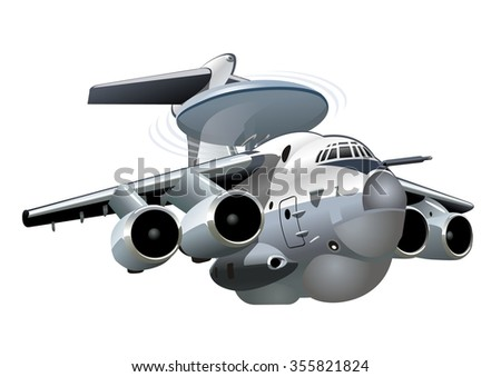 Vector Cartoon AWACS Plane. Available EPS-10 vector format separated by groups and layers for easy edit - stock vector