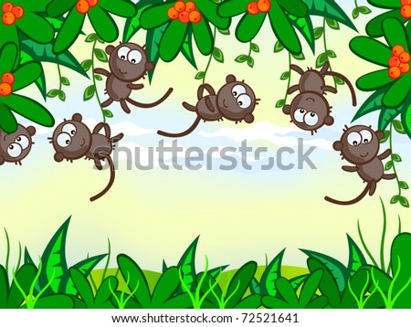 Vector cartoon background. Jungle. The frame of the plant. The nice monkeys hung on trees. African animals.