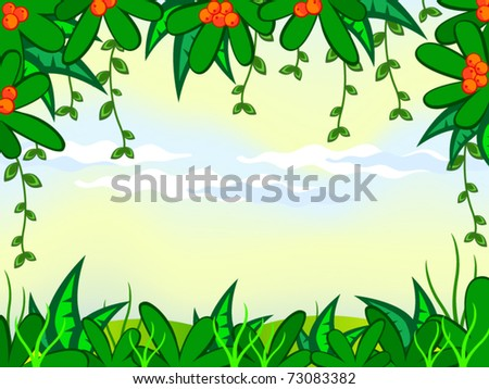 Vector cartoon background. Jungle. The frame of the tropical  plant.