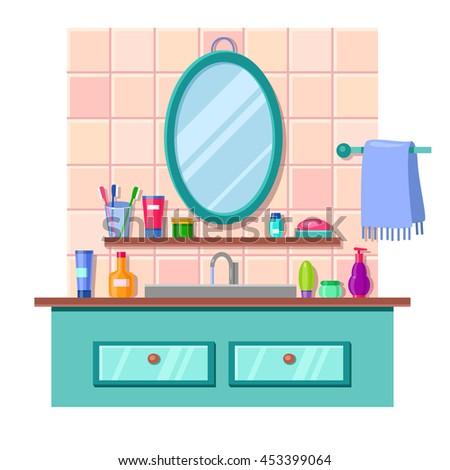 bathroom sink mirror toilet flat vector stock vector 320053727