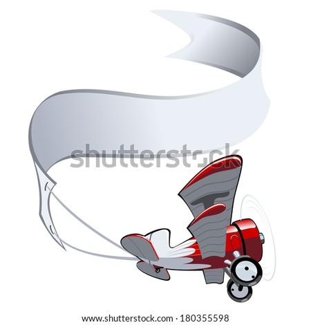 Vector Cartoon Biplane with banner.  - stock vector