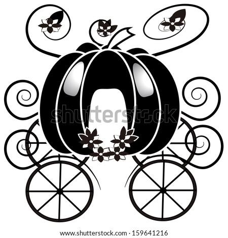 vector cartoon black and wite cinderella chariot