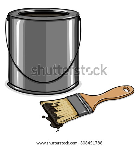 Vector Cartoon Black Paint Can and Brush