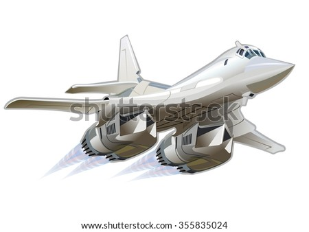 Vector Cartoon Bomber Tu-160 Blackjack. Available EPS-10 vector format separated by groups and layers for easy edit - stock vector
