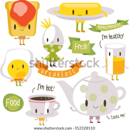 vector cartoon breakfast food with inscriptions. bread, jam, butter, coffee, fried and boiled egg, pot. banners, ribbons and logos around. - stock vector