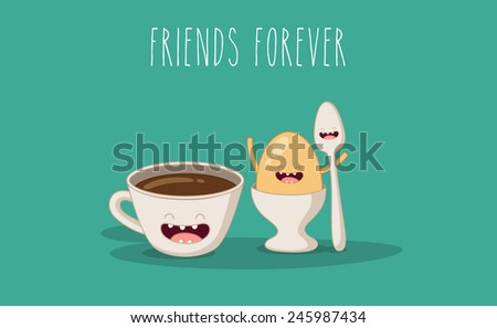 Vector cartoon. Breakfast. Friends forever. Coffee and egg. - stock vector