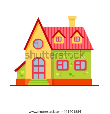 Vector cartoon bright multicolored house. Child building. Cute town illustration. Your sweet home. Summer city - stock vector