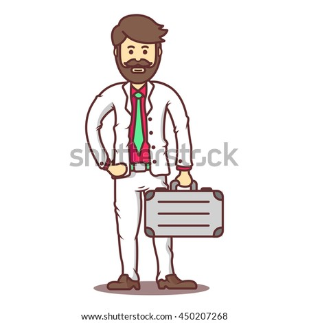 Vector cartoon business man with beard and mustache with briefcase.