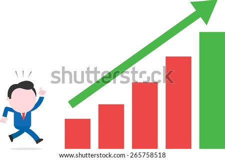 Vector cartoon businessman running hurriedly after bar chart with arrow up - stock vector