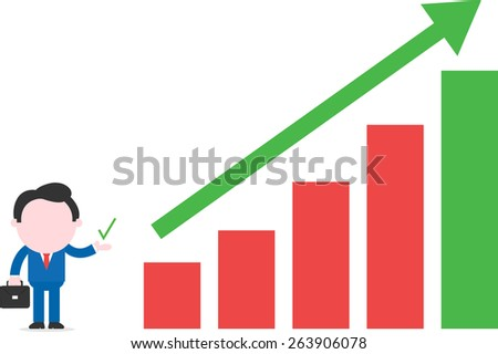 Vector cartoon businessman showing check standing beside bar chart with arrow up - stock vector