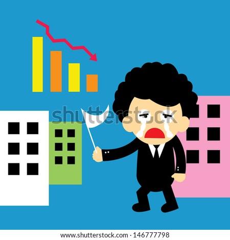 Vector cartoon businessman so sad - stock vector
