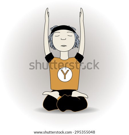 vector cartoon calm yoga pose boy sits hand up with gray gradient background - stock vector
