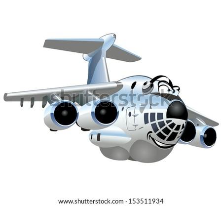 Vector Cartoon Cargo Airplane - stock vector