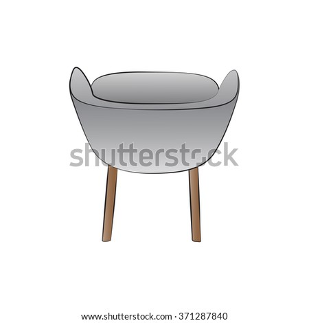 Vector cartoon chair on white background.