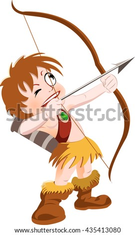 Vector cartoon Character archer with bow and arrow wearing tribal warrior gears targeting aiming skyward
