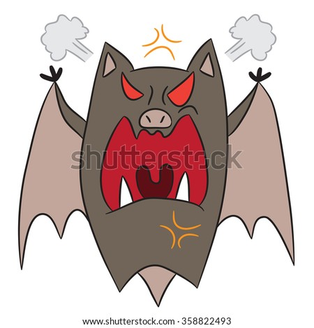 vector cartoon character bat angry