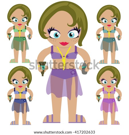 Vector cartoon character girl on beach holding two tubes of suncream. Different colors of bikinis.