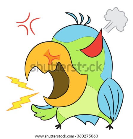 vector cartoon character parrot angry