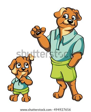 vector cartoon characters adult dog puppy stock vector 494927656 rh shutterstock com free vector disney cartoon characters vector animated characters