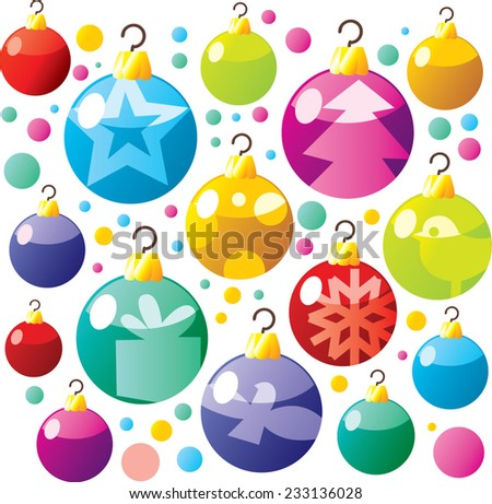 vector cartoon christmas pattern decoration ornament balls for fir tree new year - stock vector