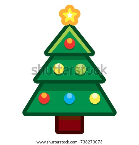 Vector Cartoon Christmas Tree Isolated On White Background