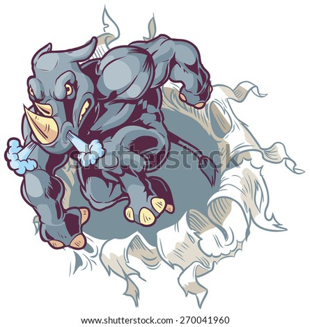Vector Cartoon Clip Art Illustration of a Crouching Anthropomorphic Mascot Rhinoceros Ripping Through a Paper or Cloth Background.