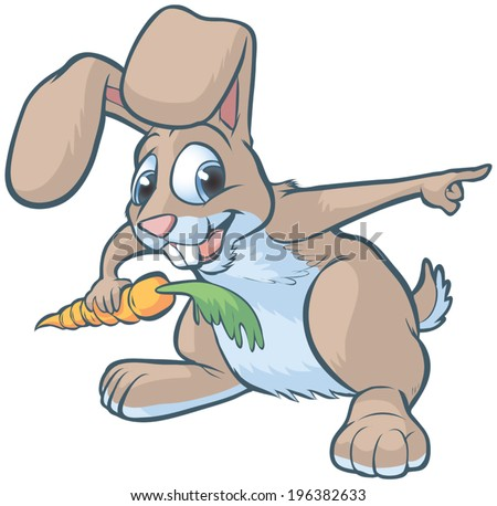 Vector cartoon clip art illustration of a happy brown bunny or rabbit holding a carrot and pointing to the right.