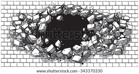 Vector cartoon clip art illustration of a hole in a wide brick or cinder block wall breaking or exploding outward. Ideal as a customizable background. Vector file is layered for easy customization. - stock vector
