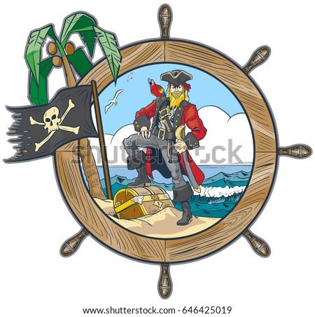 vector cartoon clip art illustration pirate stock photo photo rh shutterstock com Pirate Skull and Bones Pirate Sword Clip Art