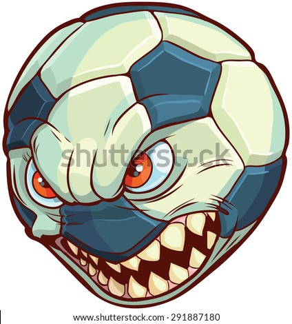 Vector cartoon clip art illustration of a soccer ball or football with a mean face with red eyes and sharp teeth - stock vector