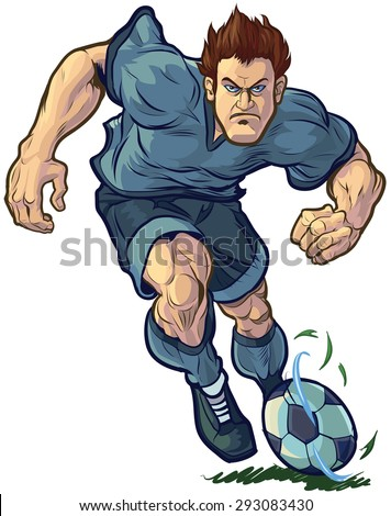 Vector cartoon clip art illustration of a tough, determined soccer or football player dribbling the ball forward. Color and Uniform elements are on separate layers in vector file for easy customizing. - stock vector