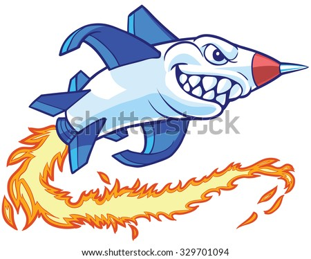 Vector cartoon clip art illustration of an anthropomorphic rocket or missile mascot with a shark mouth. It leaves a trail of flames as it flies. - stock vector