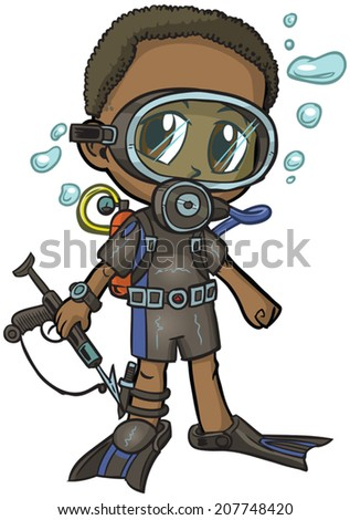 "Vector cartoon clip art of an African American boy wearing a scuba suit, drawn in an anime or manga style. He is in a ""paper doll"" pose, and has a spear gun, which is removable if desired.  - stock vector"
