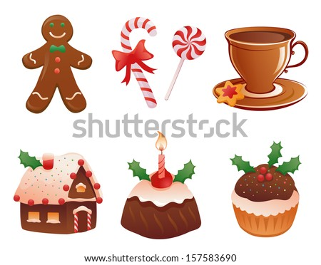 Vector cartoon collection of traditional yummy Christmas desserts, isolated on white background - stock vector