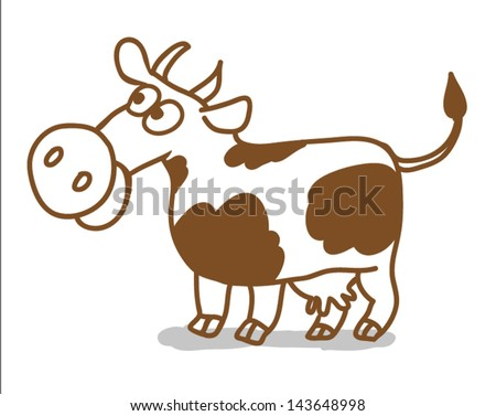 vector cartoon cow isolated on a white background - stock vector