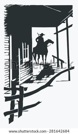 Vector cartoon cowboy western one line one object - stock vector