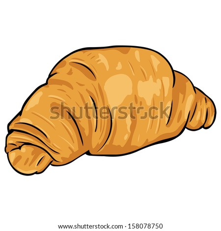 vector cartoon croissant from flaky pastry