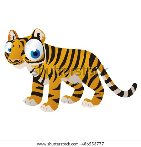 vector cartoon cute animal mascot. Funny colorful cool illustration of happy Tiger