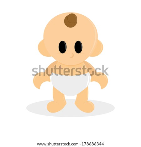 Vector Cartoon Cute Baby Isolated On White Background - stock vector