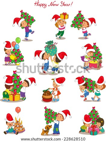 Vector. Cartoon cute children wearing Santa Claus in preparing for the holiday Christmas and New Year. Isolated objects. - stock vector