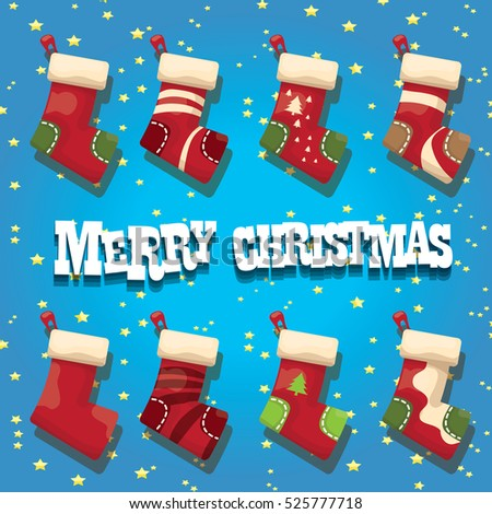 vector cartoon cute christmas stocking or socks with color ornament. Merry Christmas vector greeting card or background with christmas lights and cartoon funny text Merry Christmas