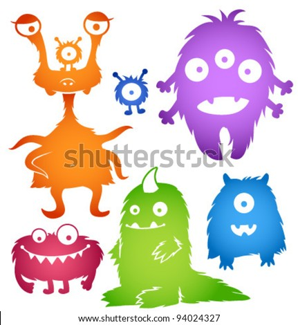 Vector cartoon cute monsters - stock vector
