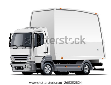 Vector Cartoon Delivery Truck. Available EPS-10 vector format separated by groups and layers with transparency effects for one-click repaint - stock vector