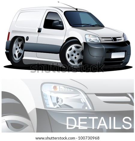 Vector cartoon delivery van - stock vector
