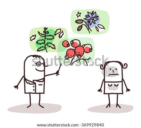 vector cartoon doctor and plants medicine - stock vector