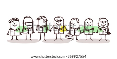 vector cartoon doctors and scientists team - stock vector