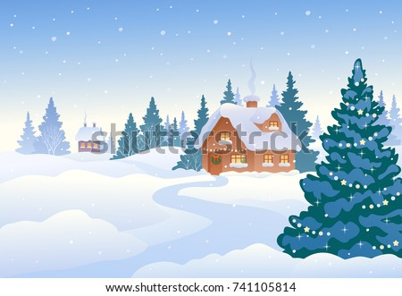 Vector cartoon drawing of a beautiful Christmas landscape, winter day village with snow covered small houses