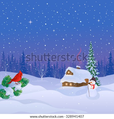Vector cartoon drawing of a snowy log cabin, cute snow man and cardinal bird in a pine forest at Christmas eve, square background