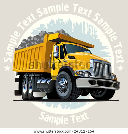 Vector Cartoon Dump Truck. Available EPS-10 vector format with transparency effects for easy edit - stock vector