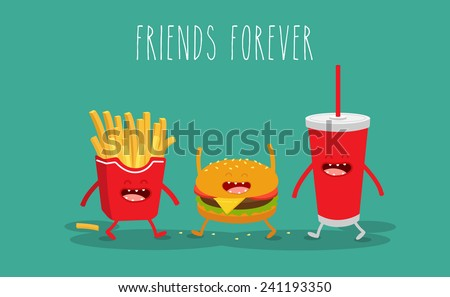 Vector cartoon. fast food. Friends forever. ?amburger, french fries. - stock vector